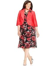 Le Bos Plus Size Dress And Jacket Sleeveless Printed rosette brooch Size 22W