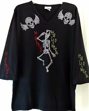 PLUS 3X Black Happy Halloween Rhinestone Embellished Dancing Skeleton Top Shirt