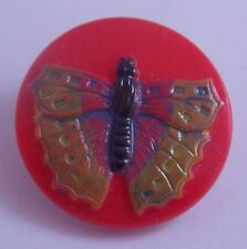 CZECH GLASS BUTTON -  Butterfly Orange Hand-Painted Yellow Lacy Wings 23 mm-7/8""