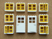 LEGO windows and doors for house (pack of 10) 2x4x3 white yellow BRAND NEW