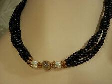 Elegant Vintage 1980s Black Jet Glass Faux Pearl Fancy Clasp Necklace  479L