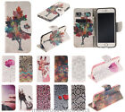 For iPhone 4 5 5C 6S Plus Stand Flip Leather Wallet Case Cover Card Slot Pattern
