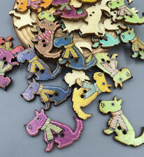 50pcs Cute Puppy Wooden Buttons Fit Sewing Scrapbooking Decoration Crafts 20mm