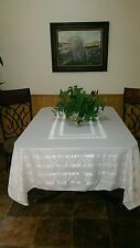 Beautiful Old Vintage White Table Cloth 60x79 & 8 napkins ?Irish Linen?