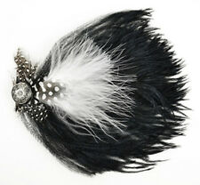 "Black & White Ostrich Feather Hat Pin W/ Guinea & silver button 6"" Pin attached"