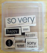 2007 Stampin Up SO VERY 8pc RUBBER INK STAMP SET Blessed Happy Sorry Missed +