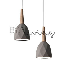 Modern Contemporary Minimal wood Timber diamond Concrete pendant light