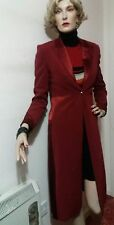 KAREN MILLEN FITTED COAT SIZE UK10 BURGUNDY 68 ACETATE 30% VISCOSE 2% ELASTANE