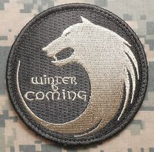 WINTER IS COMING HOUSE STARK WOLF FACE ACU LIGHT VELCRO® BRAND FASTENER PATCH