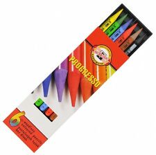 6 COLOURED KOH I NOOR PROGRESSO WOODLESS PASTEL BLENDABLE COLOUR ARTIST PENCILS