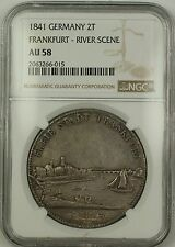 1841 Germany Frankfurt River Scene Silver 2T Two Taler Coin NGC AU-58