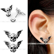 16G Gothic Bat Wing Skull Steel Helix Tragus Cartilage Ear Stud Earring Piercing