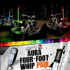 AURA 4ft Multi-Color LED Whip PAIR Flag Antenna Offroad 4x4 ATV Side x Sandrail