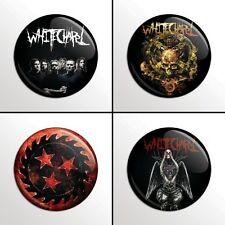 "4-Piece White Chapel 1"" Band Pinback Buttons / Pins / Badge Set"