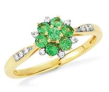 Lovely! 100% 14K Yellow Gold Tsavorite Garnet Gemstone & Diamond Accet Ring