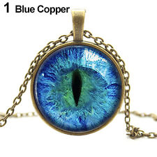Quite Popular Colored Dragon Cat Eye Glass Cabochon Plated Pendant Necklace