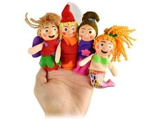 4 PCS Pretty Little Mermaid Toy Finger Puppets Wooden Toys Storytelling