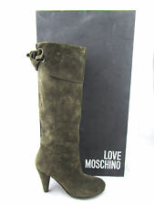 $540 LOVE MOSCHINO Fiocco Brown Mud Suede Leather Bow Knee High Boots Italy 6.5