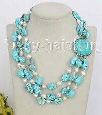 "17"" 3row Natural baroque white pearls blue turquoise necklace j11264"