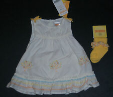 NWT Gymboree Prairie Ranch 0-3 Months Eyelet Peach Apricot Tree Dress & Socks