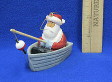 NOS Santa Fishing From Rowboat Ornament By Constantine 2001 Christmas Decor