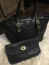 Coach Handbag Purse And Wallet Duo Leather Black Gold