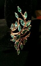 14k Yellow Gold Free-Form Cluster Ring Quality Zambian Emeralds 4+TCW, Sz7 NEW