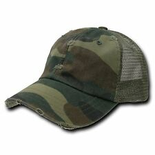 Forest Woodland Camo Vintage Mesh Snapback Trucker Camouflage Baseball Cap Hat