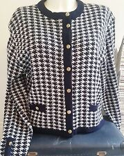 VINTAGE Navy & White Classic St Michael Cardigan w/ Gold Buttons- Chanel