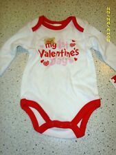 #1296 MY 1ST VALENTINES DAY 3-6 MO GIRL 1-PC BODYSUIT WHITE W/RED TRIM NEW TAGS