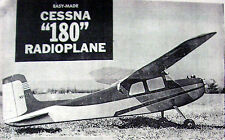 "Vintage CESSNA 180 41"" Span RO RC Model Airplane PLAN + Construction Article"