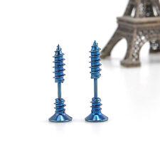 2 Pcs Women Men Blue Chic Punk Stainless Steel Screw Ear Studs Earrings GJ133