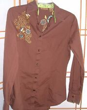 Wrangler Western Wear Embroidered Embellished Women's Long Sleeve Blouse Top S