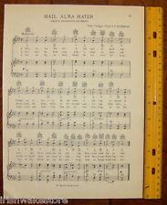 """GEORGE WASHINGTON UNIVERSITY Song Sheet c 1938 """"Hail, Alma Mater"""" Original!"""