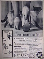 PUBLICITÉ 1961 SEMELLE DUVEX WOOD MILNE - CHAT - ADVERTISING