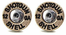 Ladies Story Silver Brass Gold 12 Gauge Shotgun Shot Gun Rifle Shells Earrings