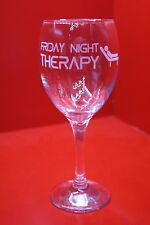 Laser Engraved Wine Glass Friday Night Therapy Design Therapist Couch
