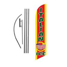 Italian Ice 15' Feather Banner Swooper Flag Kit with pole+spike -shaved ice