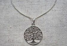 "Tree of Life Full Size Sterling Silver Pendant & 18"" Chain, Viking, Odin, Pagan"
