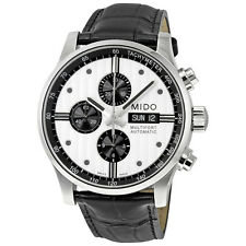 Mido Multifort Chronograph Automatic Silver Dial Black Leather Mens Watch