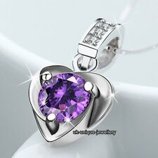 925 Silver Purple Crystal Necklace Valentines Day Gifts For Her Mum Mother Women