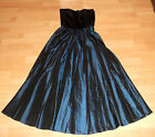 Vintage Goth Steampunk BLACK Velvet Midnight BLUE Evening Party DRESS 6 8 10 UK