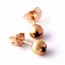 childrens TIny flower 5mm ball stud earrings lot rose Gold Plated newborn baby