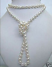 Superb natural white salt water pearl necklace 48 inchs