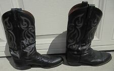 Tony Lama # 8410 cowboy boots: size 10.5D, black leather, in nice condition