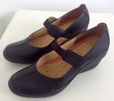 NEW CLARKS BLACK LEATHER WEDGE SHOES size 8D, EU 40, style Chelsea Unstructured