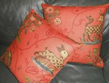 Schumacher throw pillows printed linen fabric La Menagerie animal design new TWO