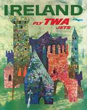 Vintage David Klein TWA Poster Ireland Mid Century Modern