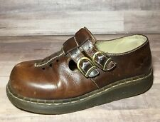 Dr Martens Brown Leather Mary Jane Oxford Buckle Made In England UK 6 US 8-8.5