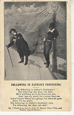 CF62. Vintage Song Postcard. Following in Father's Footsteps! Drunks.